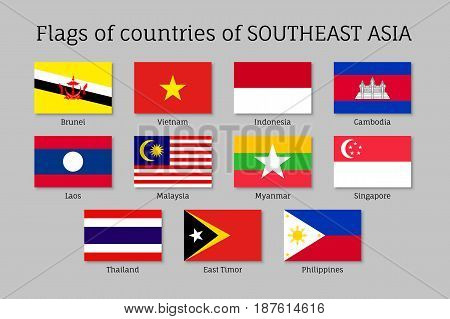 Set of flat flags of members of Asean Economic Community AEC Laos, Thailand and Vietnam, Singapore, Malaysia and Philippines. Signs of Southeast Asia states. Vector isolated icons