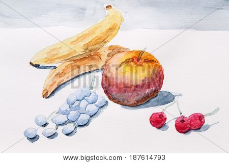 Still life with watercolor paint. Berries and fruit on the table. Bananas grapes cherries and apples.