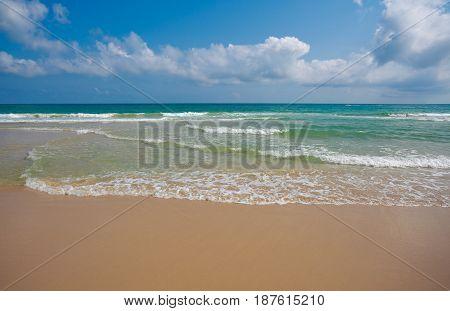 Coastline At Empty Sea And Beach Background