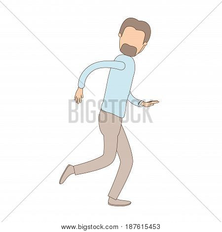 light color caricature faceless full body male person with beard and moustache running vector illustration