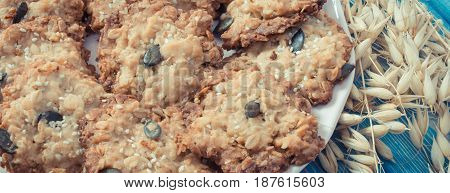 Vintage Photo, Fresh Oatmeal Cookies And Ears Of Oat, Healthy Dessert Concept