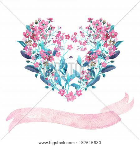 Watercolor heart-shaped and ribbon set. Red forget-me-nots with virid leaves on white background. Can be used as wedding invitations, print, your banner or Postcards for Valentine's Day. Pink tape.