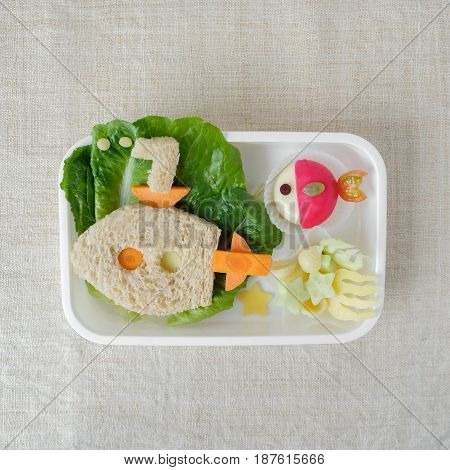 Submarine Lunch Box, Fun Food Art For Kids