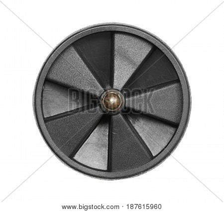 Plastic cart wheel isolated on white background