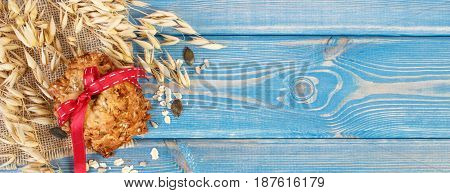 Baked Oatmeal Cookies And Ears Of Oat, Healthy Dessert Concept, Copy Space For Text On Boards
