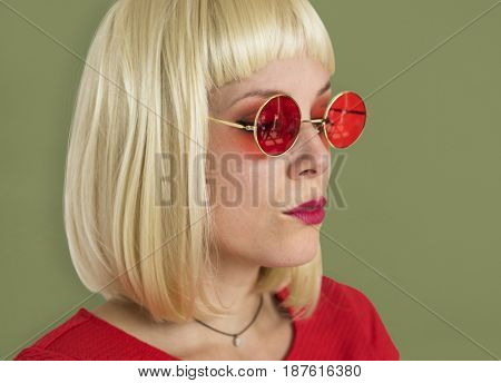 A Short Blonde Hair Woman with Sunglasses