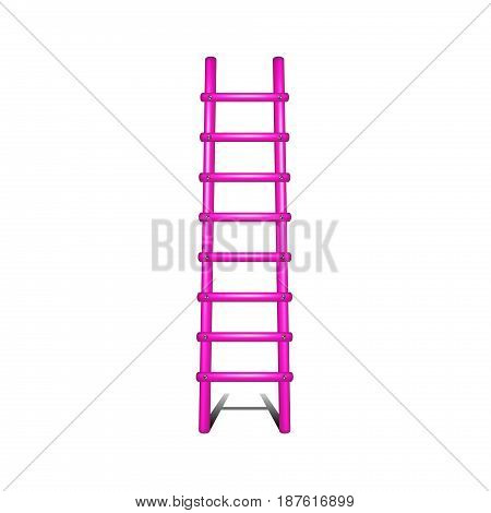 Wooden ladder in pink design with shadow leading up on white background