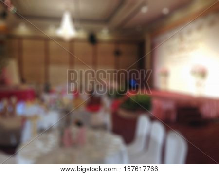 Abstract blur event room and wedding room in the hotel interior for background.