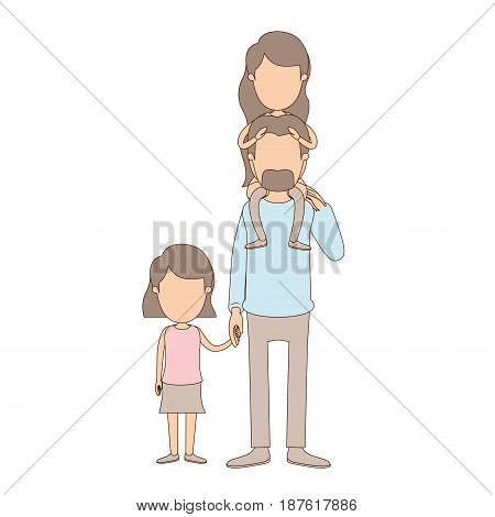 light color caricature faceless dad with daugther on his back and girl taken hands vector illustration