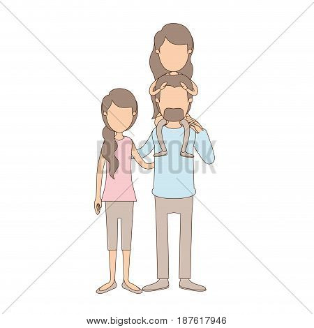 light color caricature faceless family with mother and father with moustache and girl on his back vector illustration