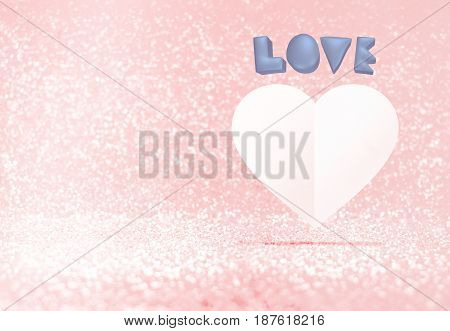 Pastel blue 3d rendering love and white paper heart shape floating in pastel pink bokeh room Valentine's concept Leave space for adding your text.