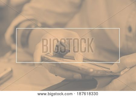 Empty White Frame On Duo Tone Of Woman Using Mobile Phone At Restaurant, Mock Up For Adding Your Tex