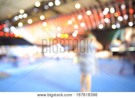 Blurry Focus Or Defocused Of Lighting Color Effects Of Customer Walk