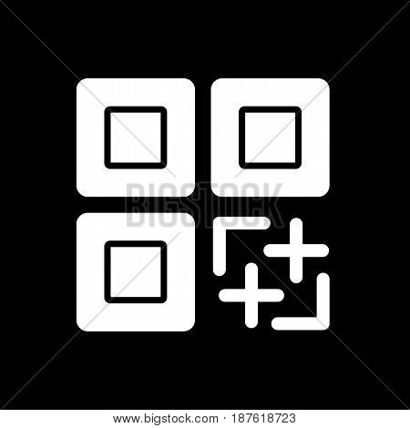 QR code vector icon. Black and white qr code illustration. Solid linear icon. eps 10