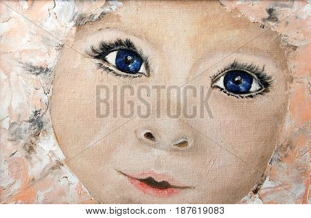 Original oil painting portrait of a child on canvas. Modern Impressionism