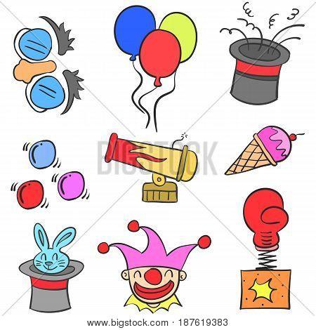 Element circus colorful doodles vector art illustration