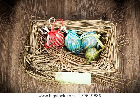Photo of Easter eggs in the nest