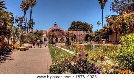 San Diego CA USA - May 20 2017: Beautiful Botanical Garden building with pond in front at the Balboa Park in San Diego. Editorial use.