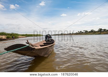 Long tail boat on river thailand .