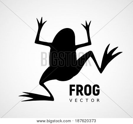 Frog silhouette. Black and white vector icon. Eps8. RGB. Global color
