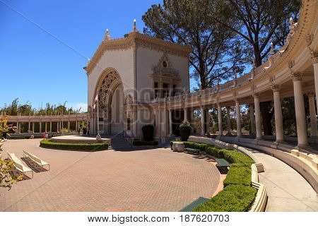 Open Seating And Ornate Building With Pillars Of The Spreckels Organ Pavilion At The Balboa Park