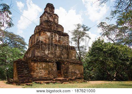 The mysterious stepped pyramid temple known as Satmahal Prasada found in the quadrangle at Polonnaruwa Sri Lanka