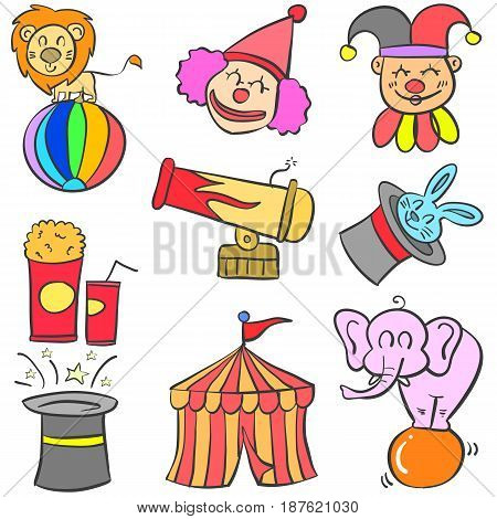 Doodle of various object circus vector illustration