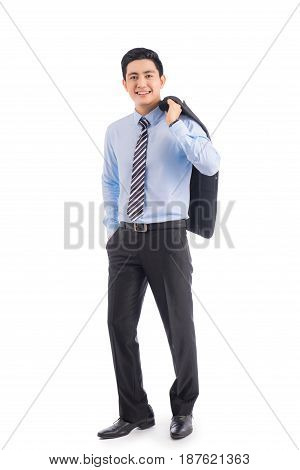 Full Length Of Handsome Asian Businessman Isolated On White Background