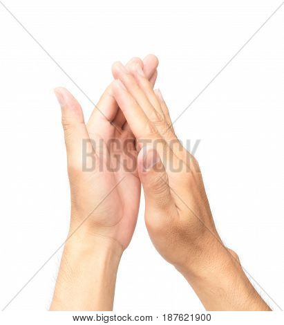 Man clapping hands on white background, congratulation concept