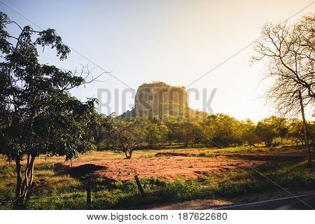 Sigiriya or Lion's rock Sri Lanka at sunrise.