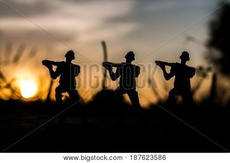 Soldier line up silhouette, Concept soldier .