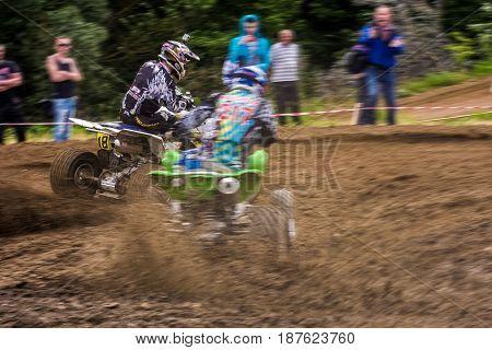 Atv Rider In The Extreme Cornering