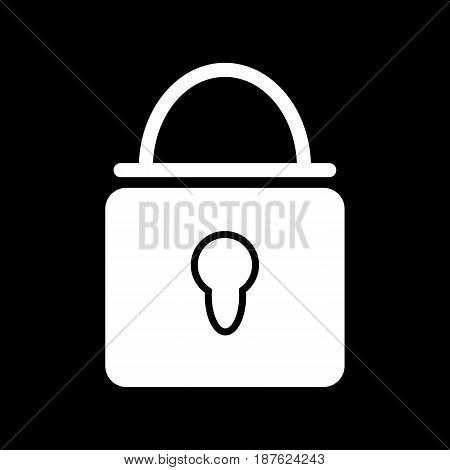 Closed lock vector icon. Black and white lock illustration. Solid linear icon. eps 10