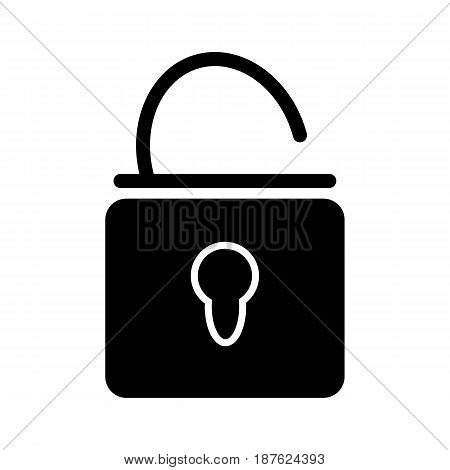 Open lock vector icon. Black and white lock illustration. Solid linear icon. eps 10