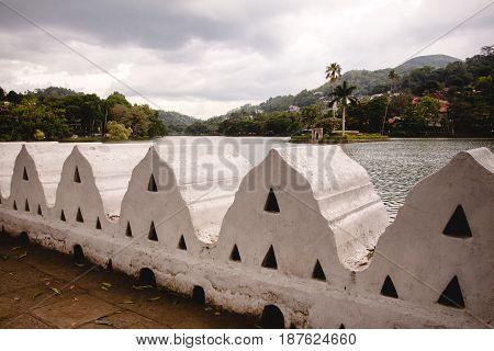 Kandy lake and the clouds wall (walakulu wall) Kandy Central Province Sri Lanka.