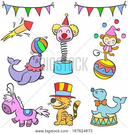 Collection object colorful circus doodle vector art