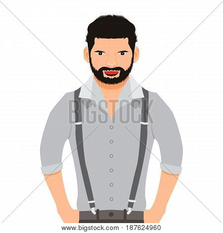 Bearded man in a shirt on a white background