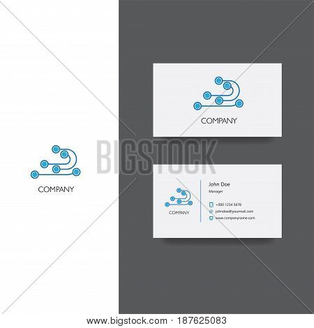 Vector eps logo for electornic services or store company, Business Card Template, icon design
