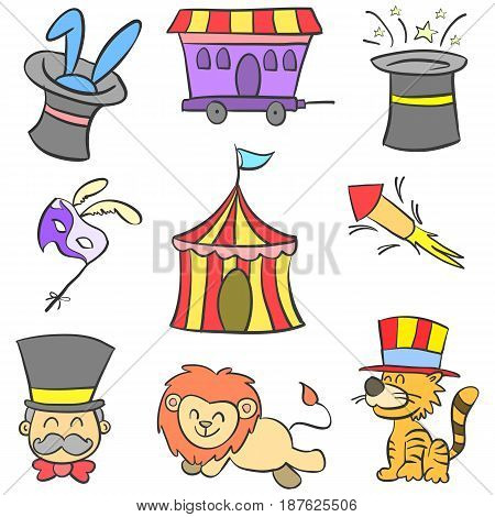Doodle of circus colorful hand draw vector illustration