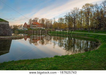 Wonderful springtime sunrise over Kuressaare town park Saaremaa Estonia