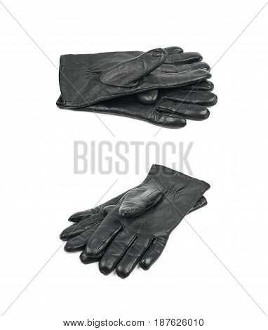 Pair of black leather gloves isolated over the white background, set of two different foreshortenings