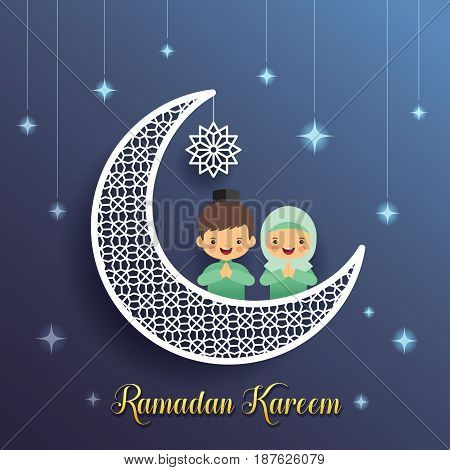 Ramadan greeting card with crescent moon and starry decor with cartoon muslim kids on blue background. Vector illustration. Ramadan Kareem means Ramadan the Generous Month.