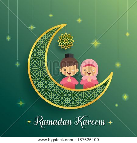 Ramadan greeting card with crescent moon and starry decor with cartoon muslim kids on green background. Vector illustration. Ramadan Kareem means Ramadan the Generous Month.
