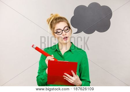 Business Woman Intensive Thinking And Writing