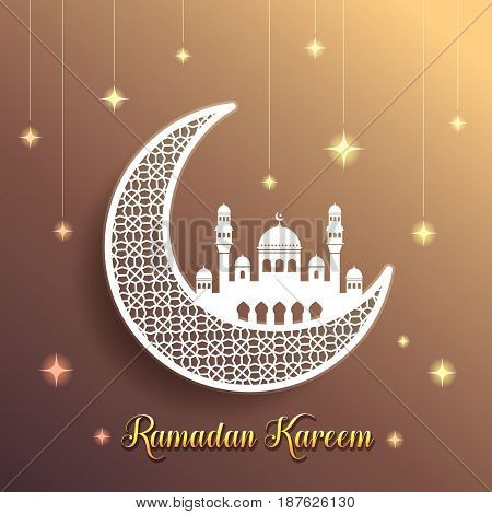 Ramadan greeting card with decorative crescent moon and mosque on starry golden brown background. Vector illustration. Ramadan Kareem means Ramadan the Generous Month.