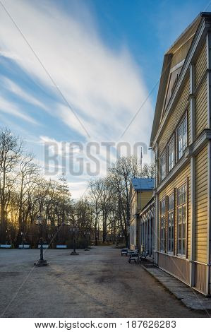 Resort hall of Kuressaare town by springtime morning Saaremaa Estonia
