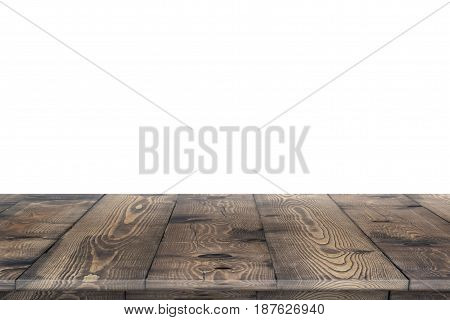 Empty wooden table perspective for product placement montage. Wooden table perspective. Wooden table surface. Rustic wooden table perspective. Large dinner empty wooden table perspective. Wooden table texture background. Wooden table perspective worktop.