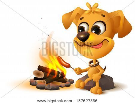 Yellow fun dog fries sausage at fire stake. Isolated on white vector cartoon illustration