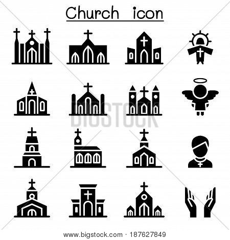 Church icons set  vector illustration graphic design