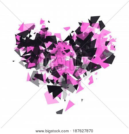 The explosion of cloud particles in the shape of a heart on transparent background. Geometric modern abstract background for banner, presentations. Shatter vector design element.